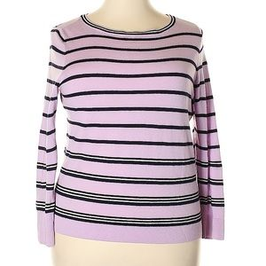 Talbots 100% Wool Pink and Black Striped Sweater